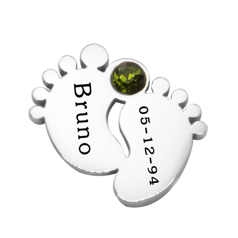 Feet Birthstone Charm 12mm for Dream Locket Silver Belle Fever