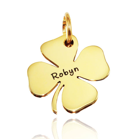 Four Leaf Clover Charm for Keyrings - Gold Belle Fever Personalized 2