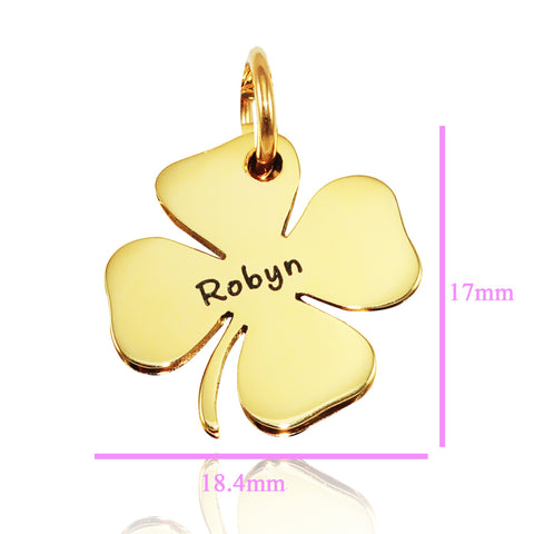 Four Leaf Clover Charm for Keyrings - Gold Belle Fever Personalized 5