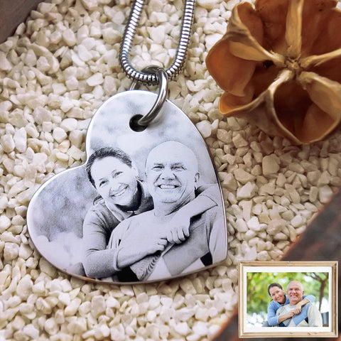 Bottom of My Heart Photo Necklace Silver Personalized Belle Fever 1