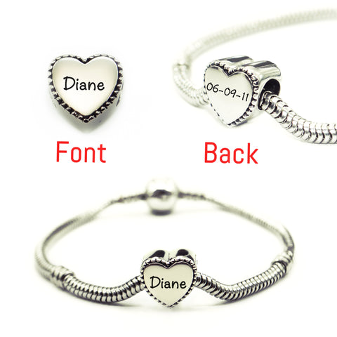 Framed Heart Personalized Charm for Moments Bracelet Silver Belle Fever 2