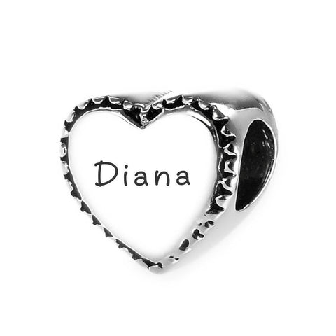 Framed Heart Personalized Charm for Moments Bracelet Silver Belle Fever 3