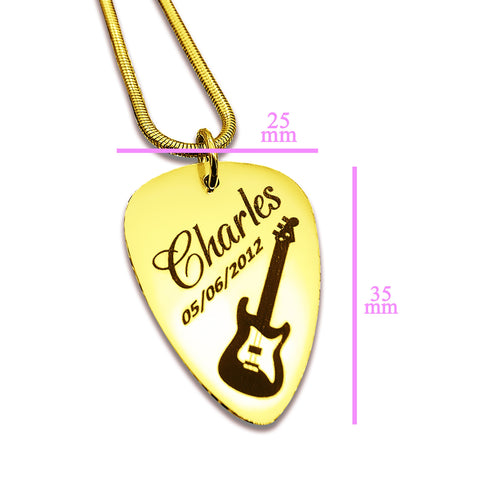Personalized Guitar Pick Necklace Gold Belle Fever 6