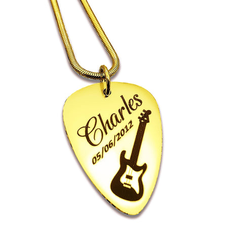 Personalized Guitar Pick Necklace Gold Belle Fever 3