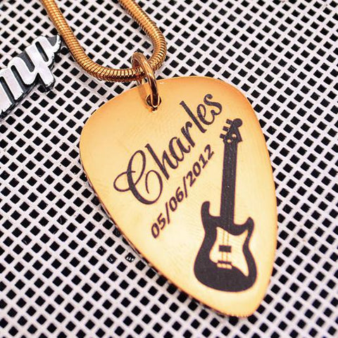 Guitar Pick Necklace Personalized Belle Fever 1