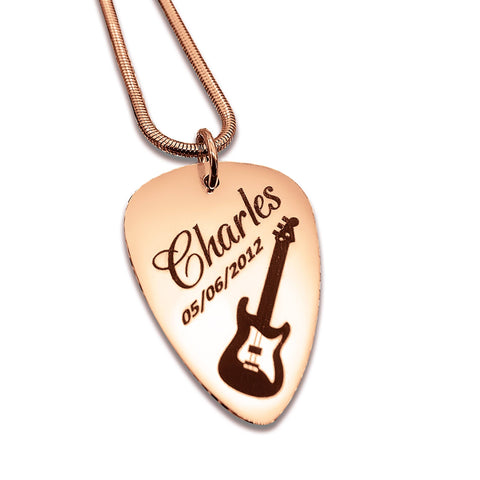Personalized Guitar Pick Necklace Rose Gold Belle Fever 4