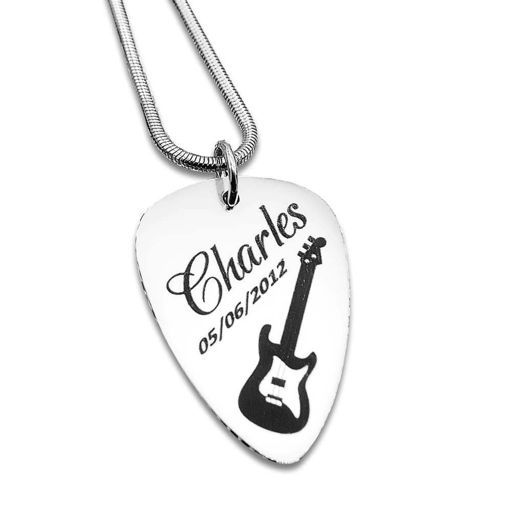 Personalized Guitar Pick Necklace Silver Belle Fever 2