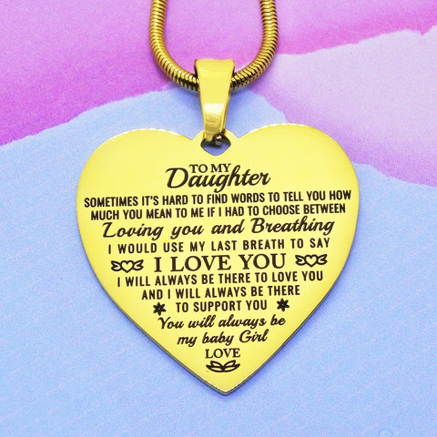 Heart Necklace - I Love You