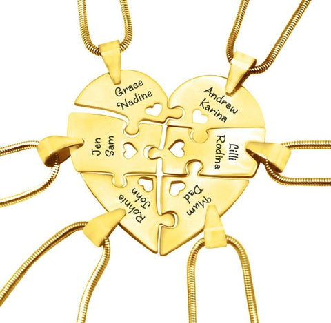 Hexa Heart Puzzle Necklace - Gold Personalized Belle Fever 3