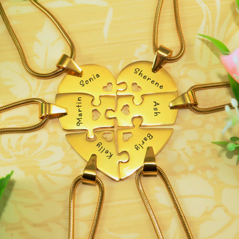 Hexa Heart Puzzle Necklace - Gold Personalized Belle Fever 6