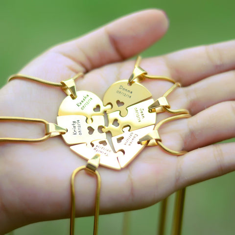 Hexa Heart Puzzle Necklace - Gold Personalized Belle Fever 7