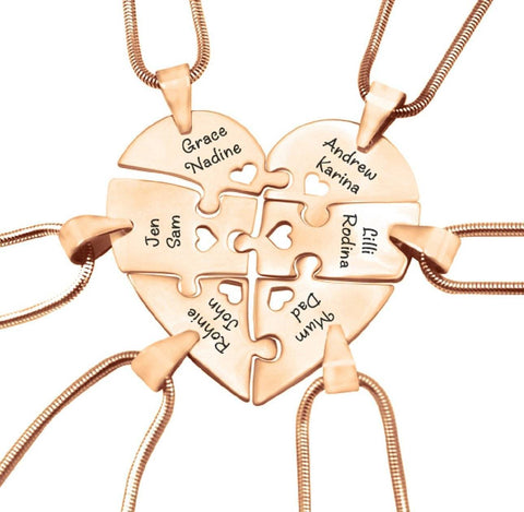 Hexa Heart Puzzle Necklace - Rose Gold Personalized Belle Fever 4