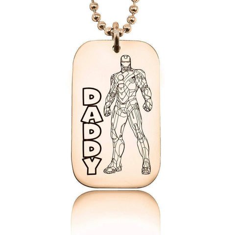 Iron Man DADDY Necklace Rose Gold Personalized Belle Fever 1