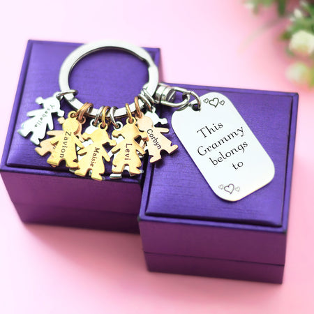 Kids Love Keyring Tag - (1 Silver Child Charm Included)