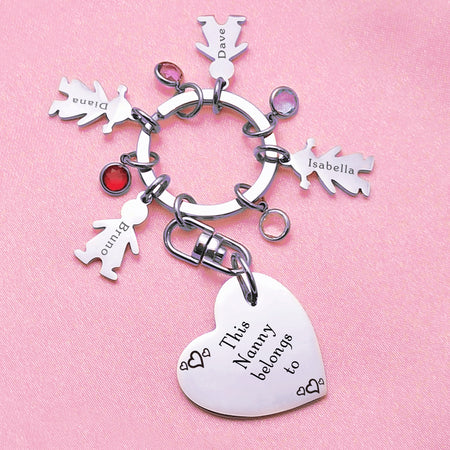 Kids Love Heart Keyring - (1 SILVER CHILD CHARM INCLUDED)