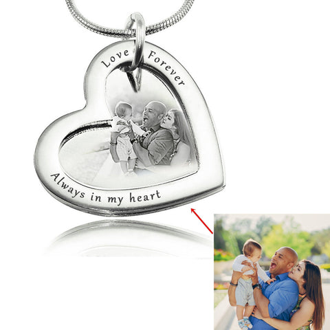 Love Forever Photo Necklace - Silver Personalized Belle Fever 8