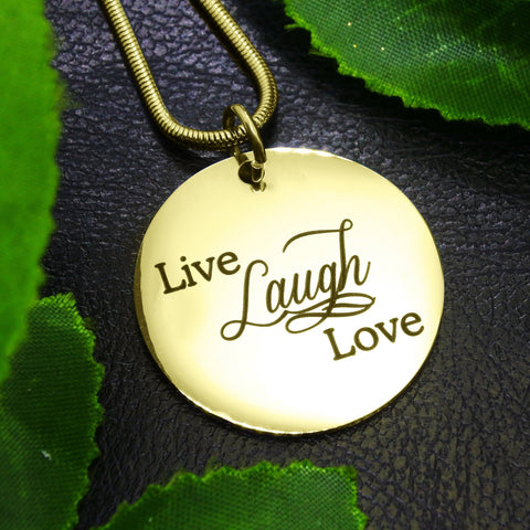 Live Laugh Love Necklace - Gold (Not Personalized) Belle Fever 1