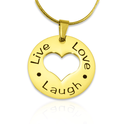 Personalized Live Laugh Love Cut Out Necklace Gold Belle Fever 3