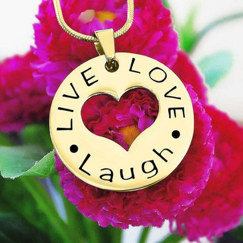 Personalized Live Laugh Love Cut Out Necklace Gold Belle Fever 6