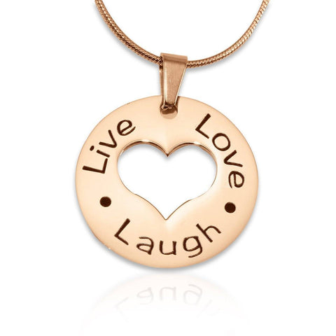 Personalized Live Laugh Love Cut Out Necklace Rose Gold Belle Fever