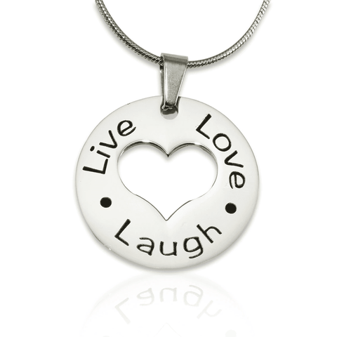 Personalized Live Laugh Love Cut Out Necklace Silver Belle Fever 2