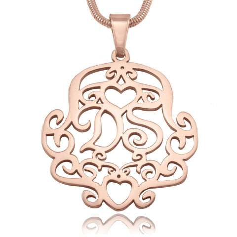Monogram Necklace Rose Gold Personalized Belle Fever 4
