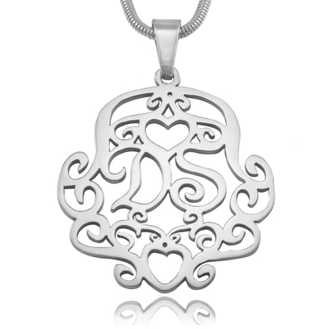Monogram Necklace Silver Personalized Belle Fever 2