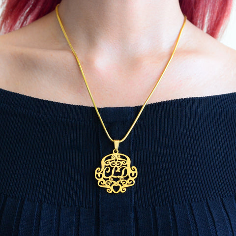 Monogram Necklace Rose Gold Personalized Belle Fever 6