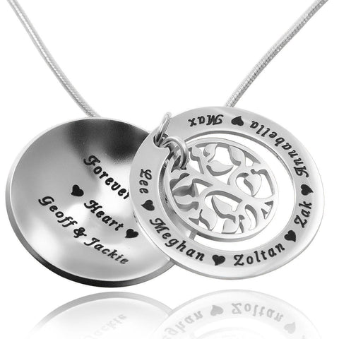 My Family Tree Dome Necklace Silver Personalized Belle Fever 2