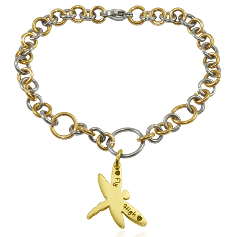 Personalized My Link Charm Bracelet Two Tone Gold Belle Fever 3