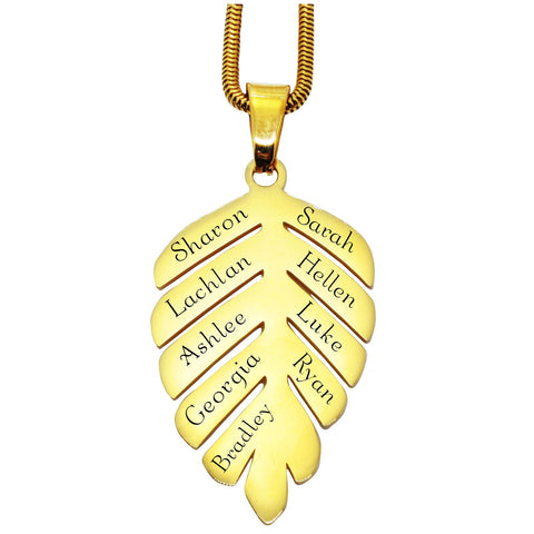 New Family Leaf Necklace Silver Personalized Belle Fever Gold
