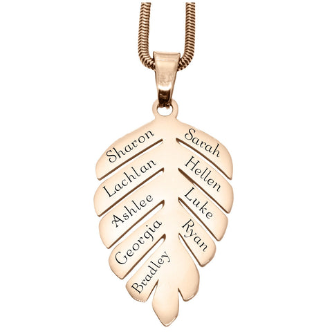 New Family Leaf Necklace Silver Personalized Belle Feve