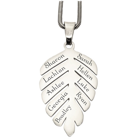 New Family Leaf Necklace Silver Personalized Belle Fever Silver