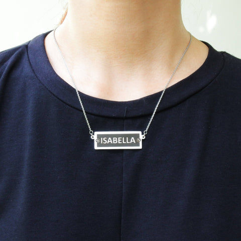 Personalized Number Plate Name Bar Necklace Belle Fever 5