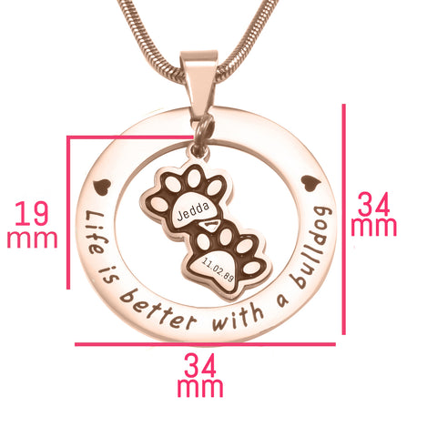 Paw Prints Washer Necklace