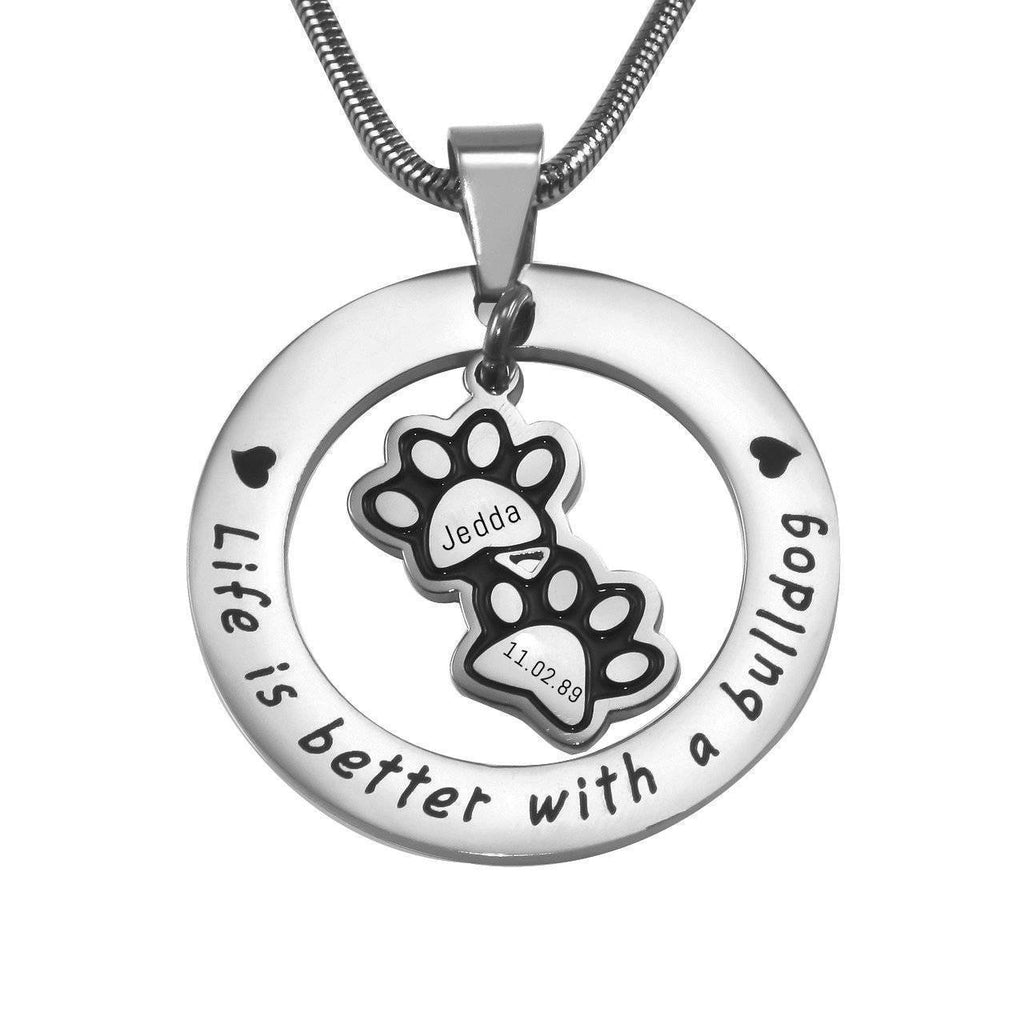 Paw Prints Washer Necklace Silver Personalized Belle Fever 2