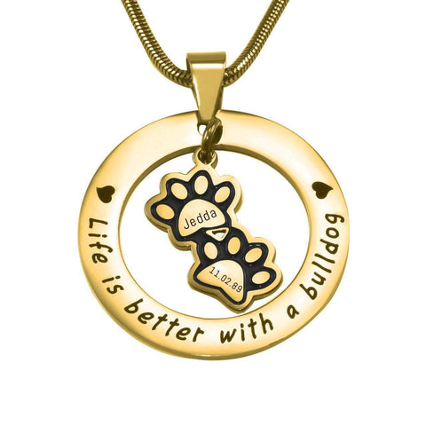 Paw Prints Washer Necklace Gold Personalized Belle Fever 3
