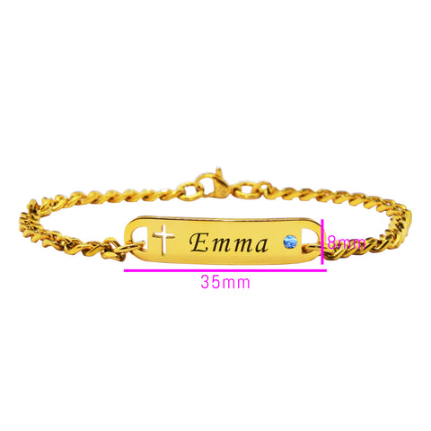 Personalized Cross Birthstone Bracelet