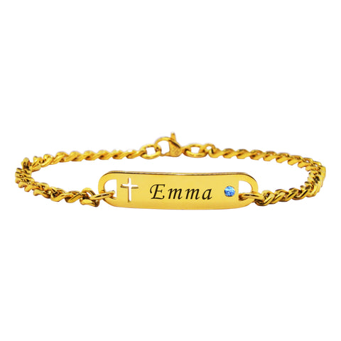 Personalized Cross Birthstone Bracelet Gold Belle Fever
