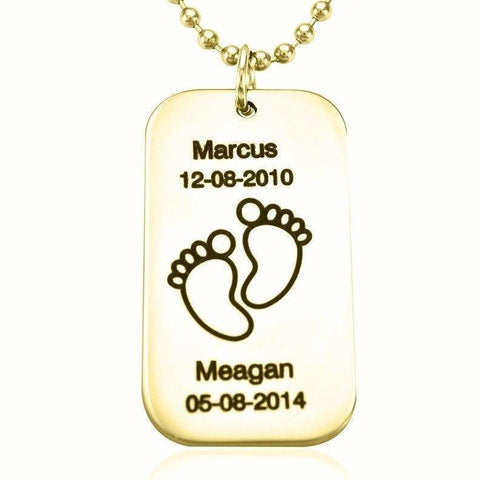 Dog Tag Necklace TEXT with Feet Gold Personalized Belle Fever 1