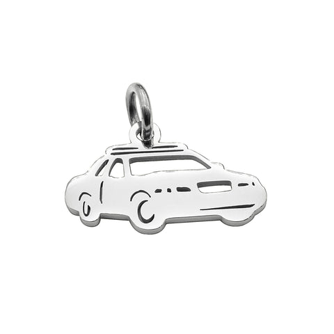 Police Car Charm for Keyring Silver Belle Fever