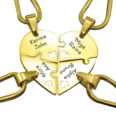 Quad Heart Puzzle - Four Personalized Necklaces Gold Personalized Belle Fever 3