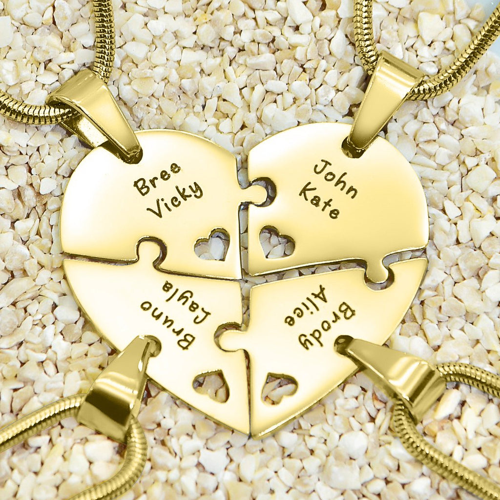 Quad Heart Puzzle  Necklace  Personalized Belle Fever 1