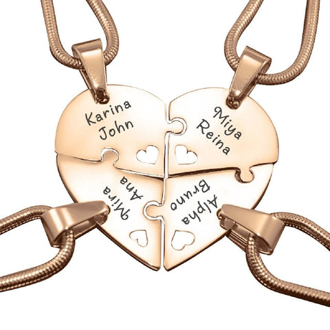 Quad Heart Puzzle - Four Personalized Necklaces Rose Gold Personalized Belle Fever 4