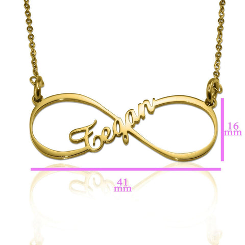 Single infinity Name Necklace Gold Personalized Belle Fever 6