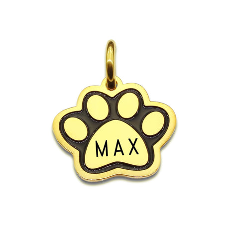 Single Paw Print Charm for Keyrings Gold Personalized Belle Fever 3