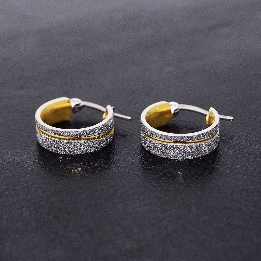 Sparkling Two Tone Hoop Earrings Belle Fever 1