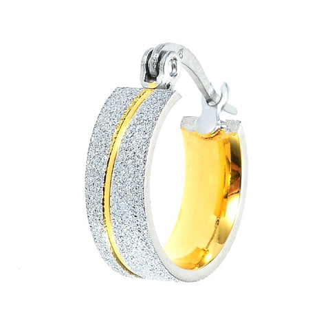 Sparkling Two Tone Hoop Earrings Belle Fever 2