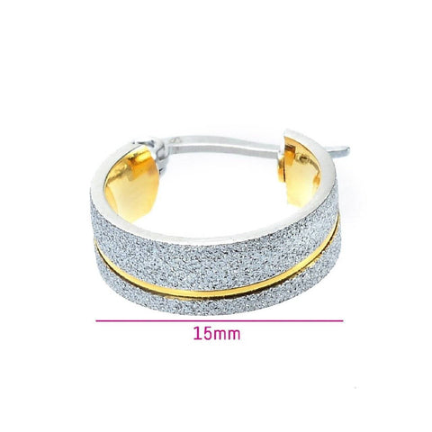 Sparkling Two Tone Hoop Earrings Belle Fever 6