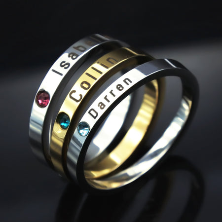 Stackable Personalized Birthstone Ring Belle Fever 1